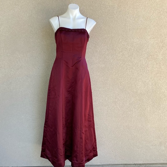 Merlot Red Long Train Mermaid Gown Cocktail Dress